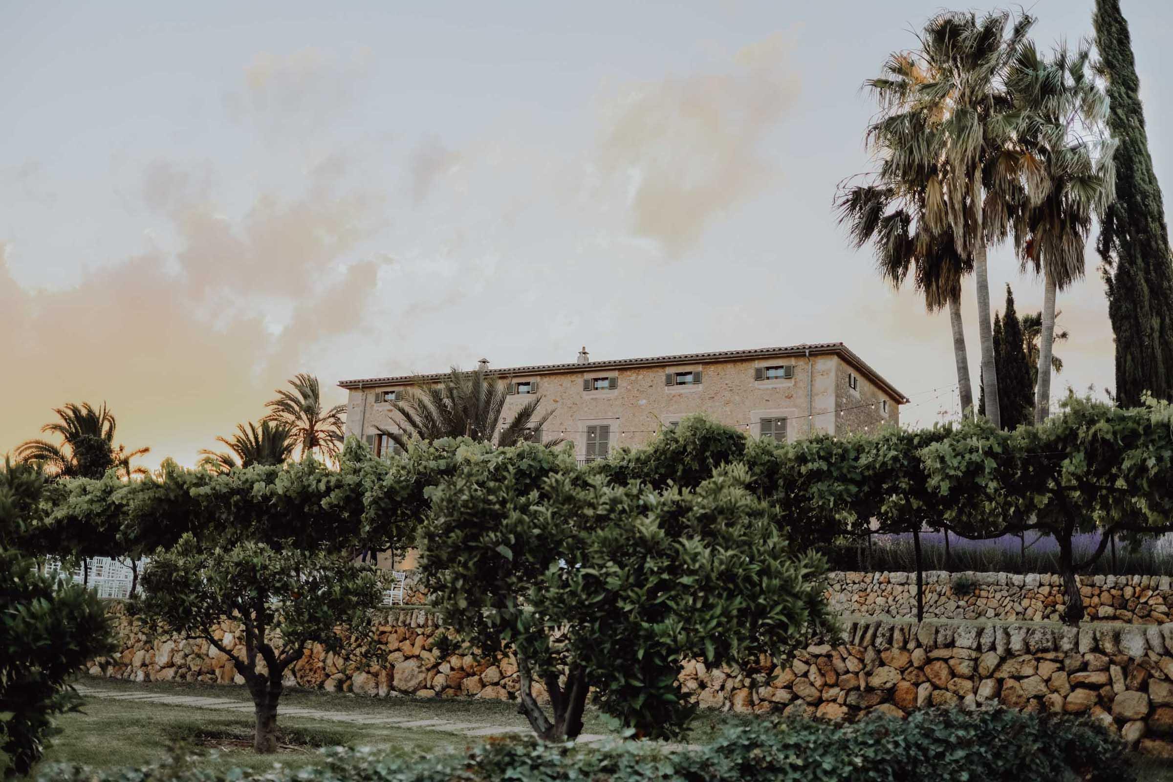 Garten mit Palmen und altes Steinhaus