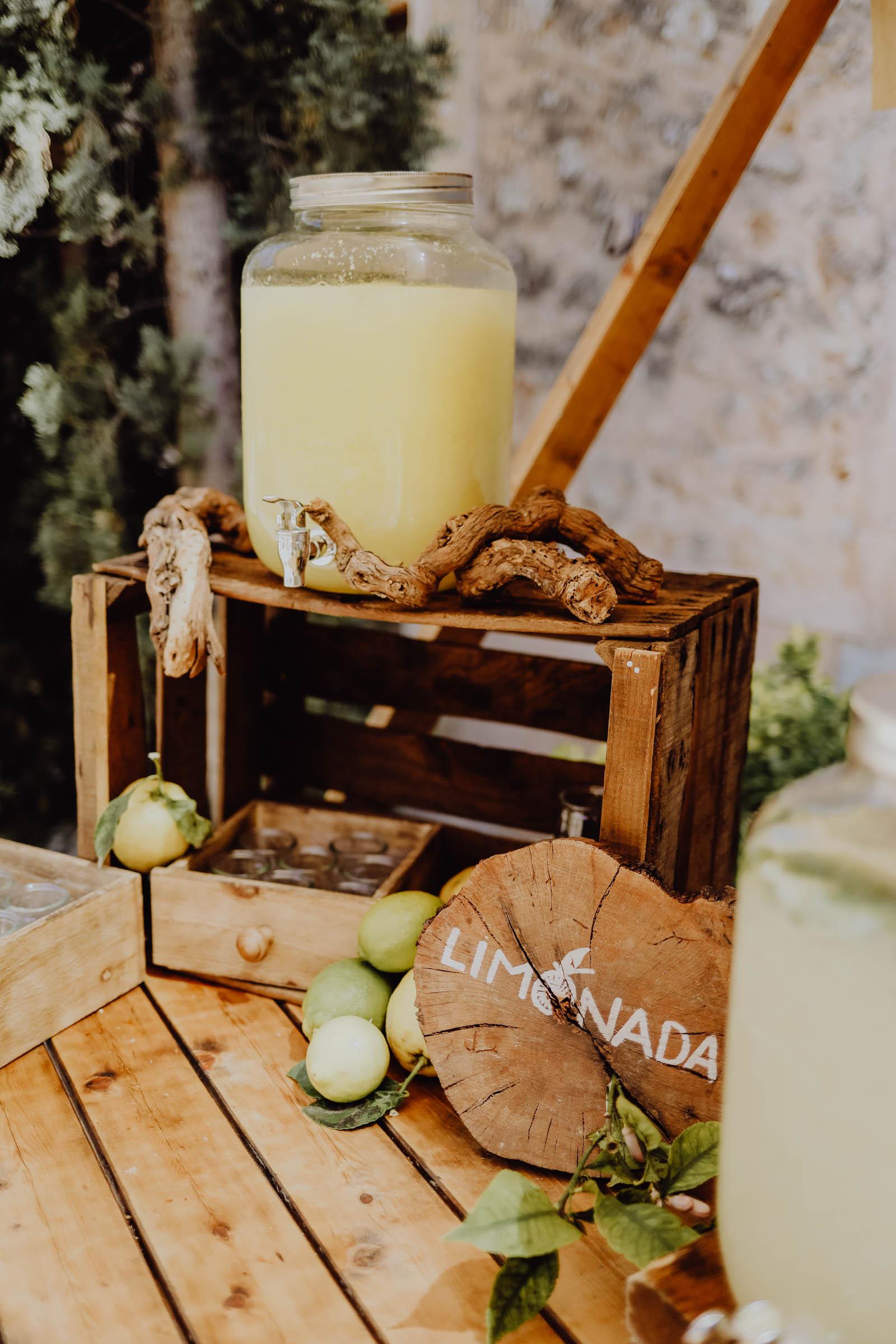 Holzdekoration mit Limonen und Saftglas